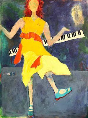 """Contemporary Female Figurative Painting,Interior View Painting """"DANCIN' IN THE STREET"""" by Oklahoma Artist Nancy Junkin"""