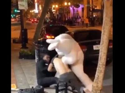 Video: Person in Easter Bunny costume throws punches during Florida brawl