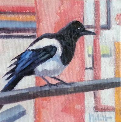 Whiskey Jack Bird Art Original Oil Painting Heidi Malott