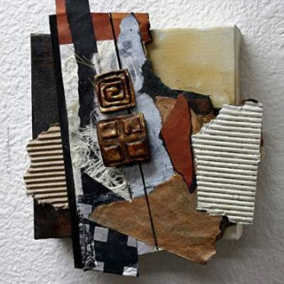 "Mixed Media Abstract Collage ""Inheritance"" by Carol Nelson Fine Art"