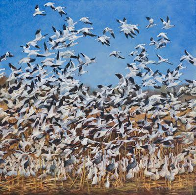 "Original Wildlife Painting,Birds,Nature ""UP"" by Nancee Jean Busse Painter of the American West"
