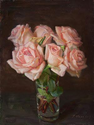 Rose flower still life oil painting original a painting a day flora contemporary realism