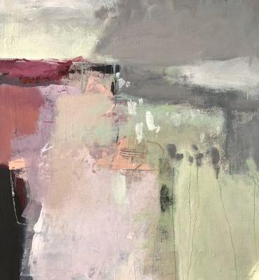 """Contemporary Abstract Landscape Art Painting, """"Before the Rain"""" by Intuitive Artist Joan Fullerton"""