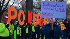People Protest Trump's National Emergency For A Border Wall On Presidents Day