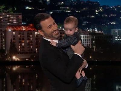 Kimmel brings infant son on stage in emotional return, slams Congress over health care