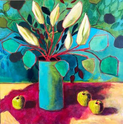 "Contemporary Bold Expressive Still Life Flower Painting ""Green and Red Lilies"" by Bold Expressive Painter,Santa Fe Artist Annie O'Brien Gonzales"