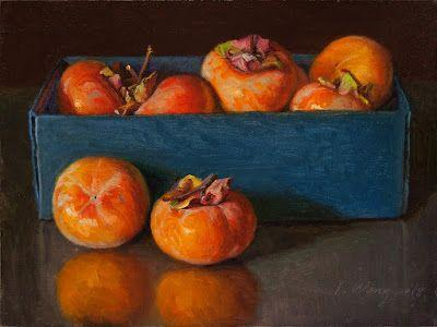 Persimmons in a card box, still life oil painting original contemporary realism