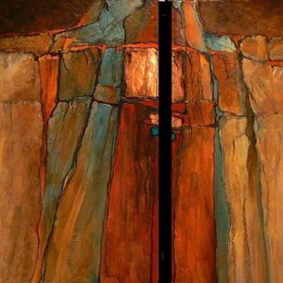 """Geological Abstract Painting, Contemporary Mixed Media Art, Large Painting """"TERRA FIRMA 2"""" by Colorado Mixed Media Abstract Artist Carol Nelson"""