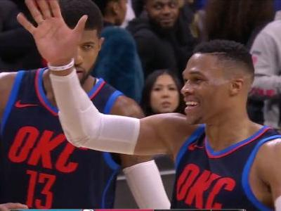 Russell Westbrook Waives Goodbye To Joel Embiid After 3OT Victory