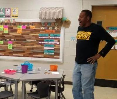 Kindergarten students learned to sign 'Happy Birthday' for their deaf custodian