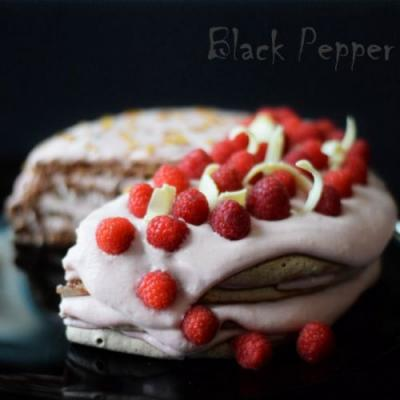 Walnut Raspberry Meringue Cake