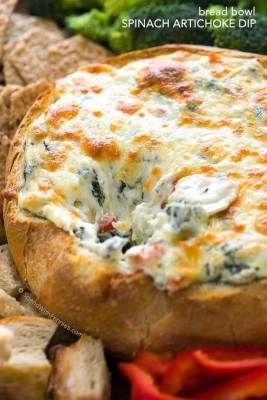Hot Spinach and Artichoke Dip in a Bread Bowl