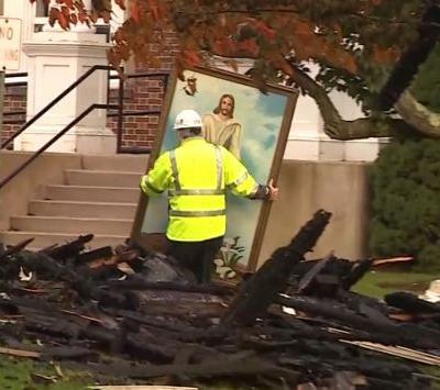 Painting of Jesus survives devastating fire in historic church