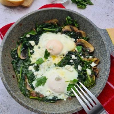 Eggs Fried in Mushrooms and Greens