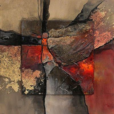 "Mixed Media Art, Geologic Abstract Painting ""New London"" by Colorado Mixed Media Artist Carol Nelson Fine Art"
