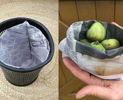 Two plastic-free projects: How to make an origami paper bin liner and a paper kete