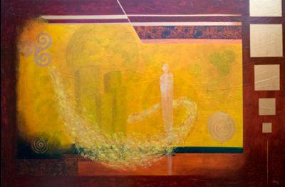 """Contemporary Abstract Painting """"Visitacion"""" by Contemporary Artist Pat Stacy"""