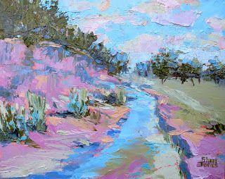 Creek Bound 3, New Contemporary Landscape Painting by Sheri Jones