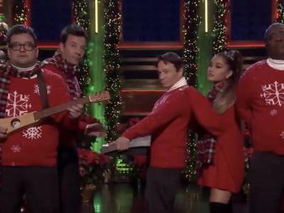 """Watch Ariana Grande Join SNL's """"I Wish It Was Christmas Today"""" Band On Fallon"""