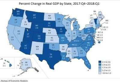 Gross Domestic Product by State: First Quarter 2018