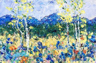 """Original Palette Knife Aspen Tree Landscape Painting """"Mountain Spring"""" by Colorado Impressionist Judith Babcock"""